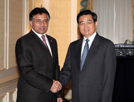 图文:胡锦涛会见巴基斯坦总统穆沙拉夫