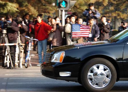 图文:美国代表团抵达北京钓鱼台国宾馆