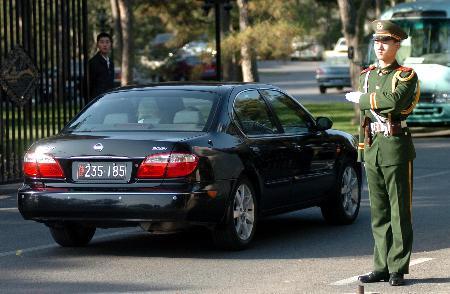 图文:日本代表团车辆抵达北京钓鱼台国宾馆