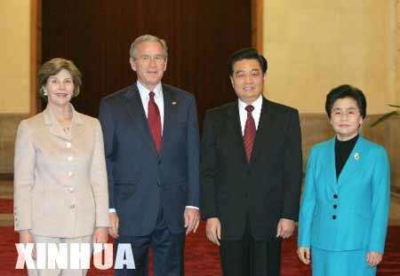 组图:胡锦涛举行仪式欢迎布什访华