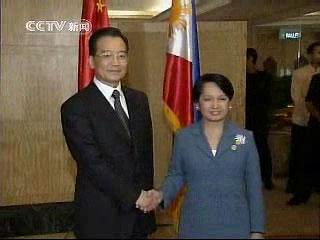 图文:温家宝会见菲律宾总统阿罗约