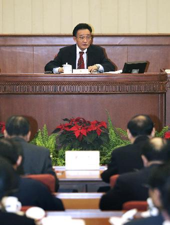 图文:吴邦国委员长听取代表意见