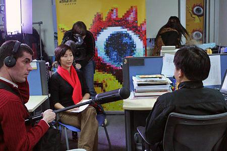 组图:德国电视一台在录制赠台大熊猫节目