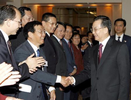 图文:温家宝在堪培拉会见澳大利亚华人华侨