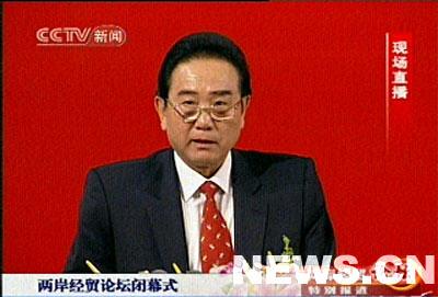 图文:陈云林在经贸论坛闭幕式上发言