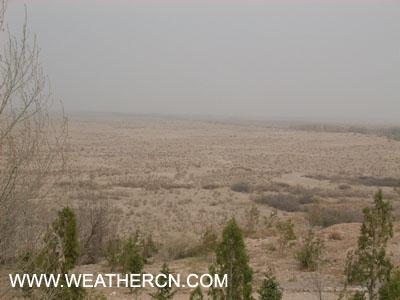图文:甘肃红崖山水库周边沙地