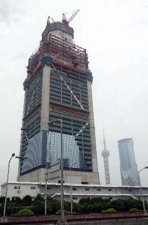图文:上海环球金融中心建设高度突破200米(2)