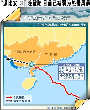 图文:派比安3日晚登陆已减弱为热带风暴