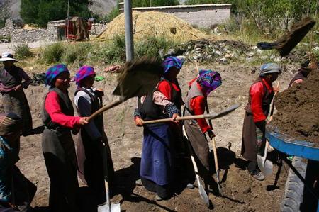 图文:日喀则吞巴村妇女自发自筹地开挖水渠