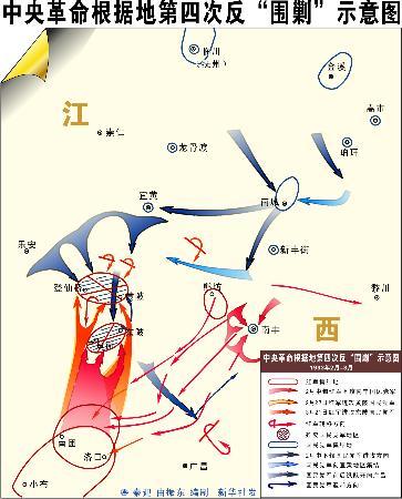 图文:中央革命根据地第四次反围剿示意图