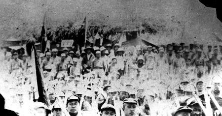 资料照片:红军庆祝直罗镇战役胜利大会