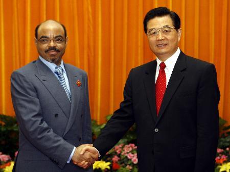 图文:胡锦涛会见埃塞俄比亚总理