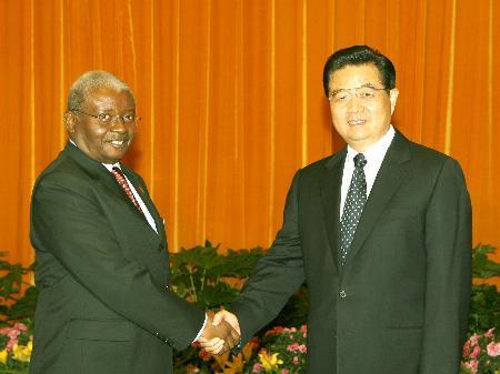图文:胡锦涛会见莫桑比克总统