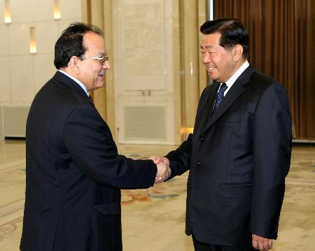 图文:贾庆林会见乍得外长