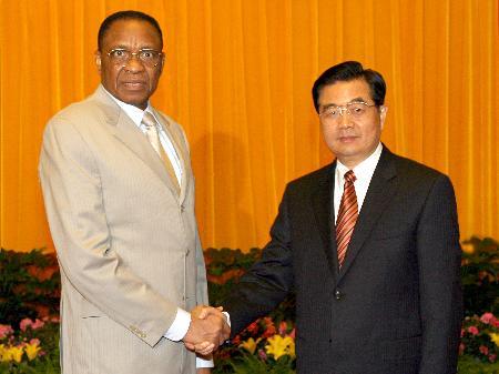 图文:胡锦涛会见尼日尔总统