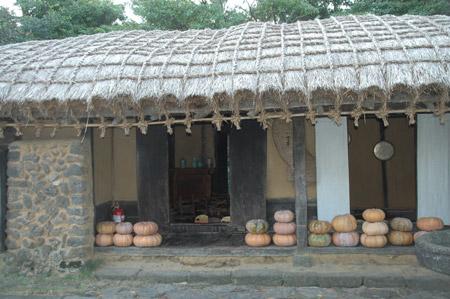 图文:济州翰林公园内的传统民居