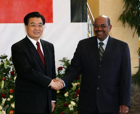 图文:胡锦涛同苏丹总统巴希尔举行会谈