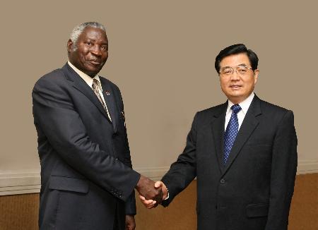 图文:胡锦涛会见赞比亚议长