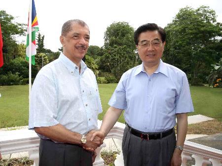 图文:胡锦涛同塞舌尔总统米歇尔会谈