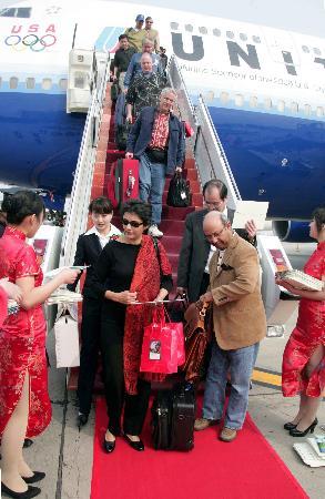 图文:美联航直飞中美两国首都航线首航成功(1)