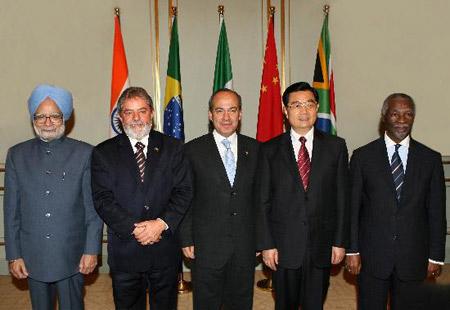 印度、巴西、南非、墨西哥五个发展中国家领导人集体会晤.这是会图片