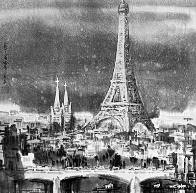 手绘城市名片巴黎