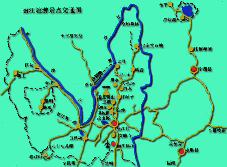 丽江旅游景点交通图