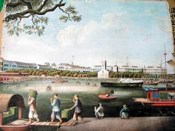 认为画中所画是清朝末年广州十三行码头的实景,算起来这幅画应该有近