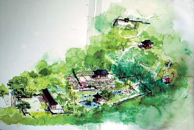 园林设计手绘图山丘