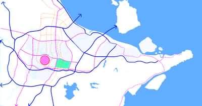 东部新城区域规划和道路交通系统图-往东走,第二个城市中心