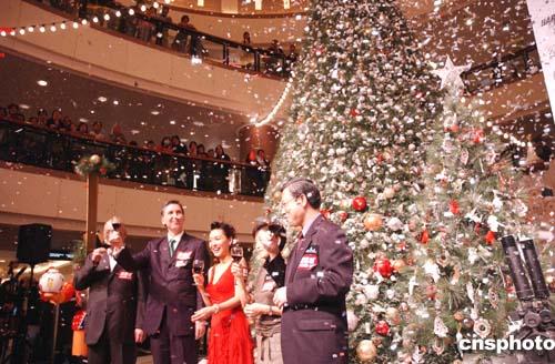 朱茵出席海港城圣诞树亮灯仪式(组图)
