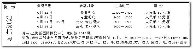 中国有史以来最大规模、最高水准的汽车展第十一届上海国际汽车工业展,明日在上海开幕。   昨日,记者提前探车展,只见上海浦东新国际博览中心周边,广告彩旗早已绵延数公里。12万平方米展馆内,最酷、最靓、最先进乃至高科技武装到牙齿的汽车,争奇斗艳,尤其每当厂家镇展之宝车型上的帆布被揭开,引来一片是惊叹   【先睹】盛况呼之欲出   据悉,明日开幕的上海车展,全球各大汽车巨头毕至,1000多家展商会集,从超豪华到实惠型,一应俱全。镁光灯在闪,为迅速传递咨讯,尽管,中外记者已近千名,但在