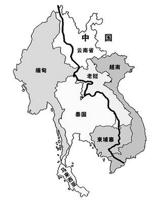 湄公河次区域地形图