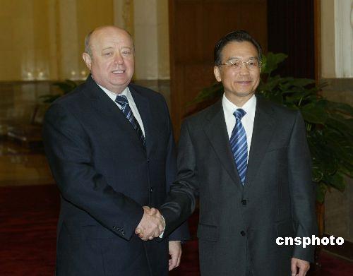 图:温家宝会见俄罗斯联邦总理弗拉德科夫