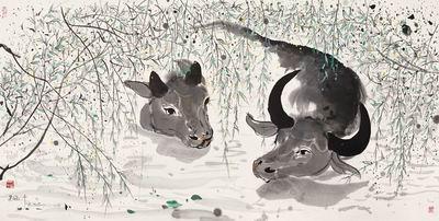 吴冠中《柳塘双牛》:别具一格的寓言画