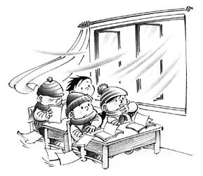 陇一小学竟要求学生上课敞开门窗图片
