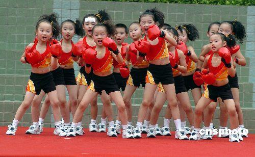 图:深圳首届少儿韵律操复赛开赛