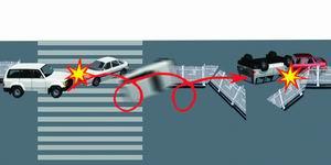 车道欲调头的一辆千里马轿车,凌空飞起翻了3个跟头   ,狠狠砸高清图片
