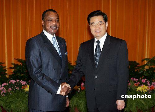 图文:胡锦涛会见刚果(布)总统恩格索