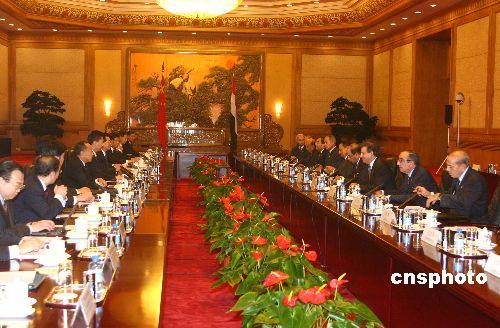 胡锦涛与埃及总统会谈一致同意密切政治关系