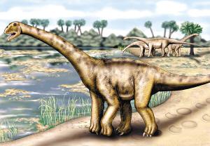 巨型恐龙的复原图,它的体重相当于7头大象.科学·考古-西班牙出土图片