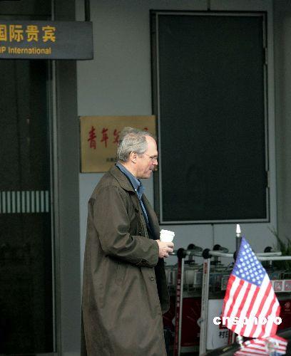 图:希尔抵达北京参加六方会谈会议