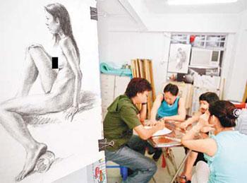 近年裸体模特儿成为香港赚快钱的新兴行业,失业女性,女中学生,甚至