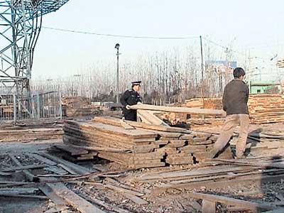 拆除高压塔下木材市场(图)