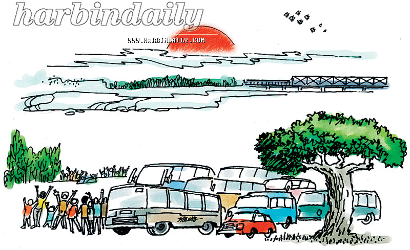 太阳岛上看日出孙以增(北京日报高级 、中国新闻漫画研究会会长)-