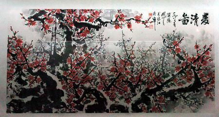 珠海市博物馆展出的一幅假冒的关山月梅花图(3月14日摄)新华社记者图片