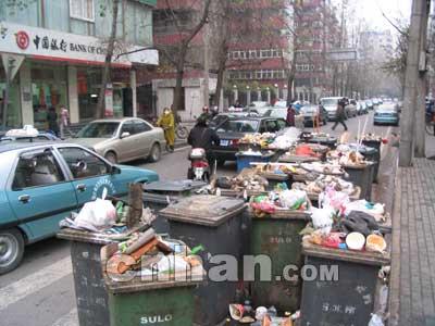 20个装满垃圾的垃圾桶占据
