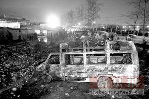北京批发市场起火烧毁20万斤水果(图)