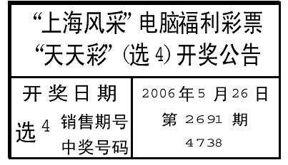 上海风采电脑福利彩票天天彩(选4)开奖公告