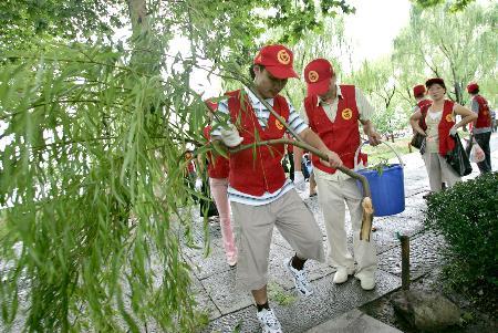 图文:工人清理被风刮落的树枝